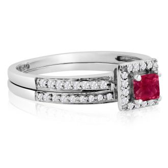 1/2ct Pave Ruby and Diamond Bridal Set