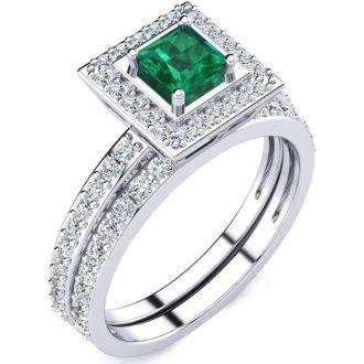 1ct Princess Cut Emerald and Diamond Bridal Set in 14k White Gold