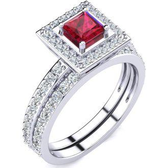 1ct Princess Cut Ruby and Diamond Bridal Set in 14k White Gold