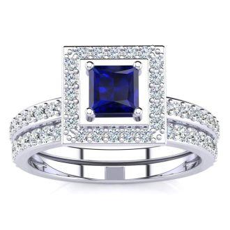 1ct Princess Cut Sapphire and Diamond Bridal Set in 14k White Gold