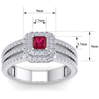 1 Carat Princess Shape Double Halo Ruby and Diamond Engagement Ring In 14 Karat White Gold