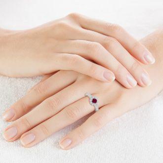 1 1/2 Carat Halo Diamond and Ruby Engagement Ring in 14 Karat White Gold