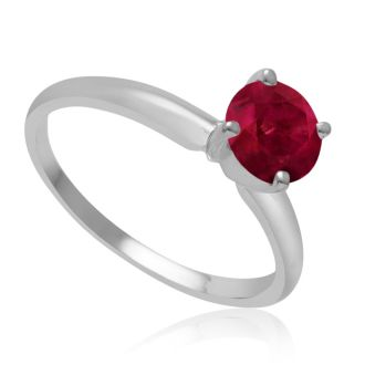 1 Carat Ruby Solitaire Engagement Ring In 14 Karat White Gold