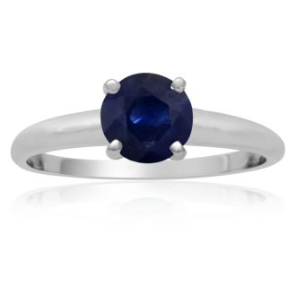 1 Carat Sapphire Solitaire Engagement Ring In 14 Karat White Gold