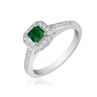 Hansa 2/3 Carat Emerald and Diamond Princess Engagement Ring in 14k White Gold