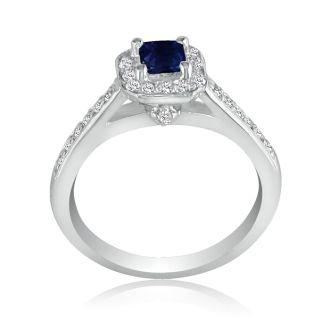 Hansa 2/3 Carat Sapphire and Diamond Princess Engagement Ring in 14k White Gold