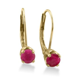 1/2ct Solitaire Ruby Leverback Earrings, 14k yellow Gold