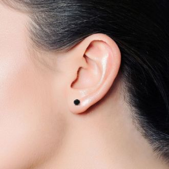 3/4ct Black Single Diamond Stud Earring in 10k White Gold