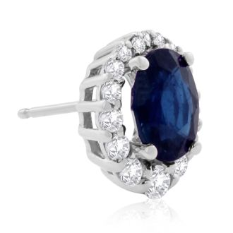3.20 Carat Fine Quality Sapphire And Diamond Earrings In 14K White Gold