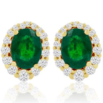 3.20 Carat Fine Quality Emerald And Diamond Earrings In 14K Yellow Gold