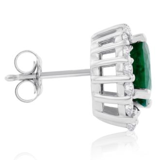 3.20 Carat Fine Quality Emerald And Diamond Earrings In 14K White Gold
