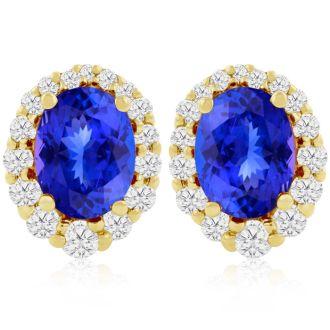 3.00 Carat Fine Quality Tanzanite And Diamond Earrings In 14K Yellow Gold