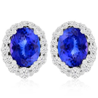 3.00 Carat Fine Quality Tanzanite And Diamond Earrings In 14K White Gold