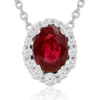 2.90 Carat Fine Quality Ruby And Diamond Necklace In 14K White Gold