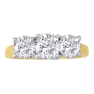 1/4ct Three Diamond Ring in 14k Yellow Gold