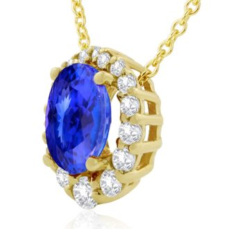 2.90 Carat Fine Quality Tanzanite And Diamond Necklace In 14K Yellow Gold