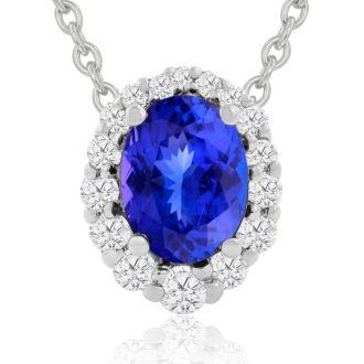 2.90 Carat Fine Quality Tanzanite And Diamond Necklace In 14K White Gold
