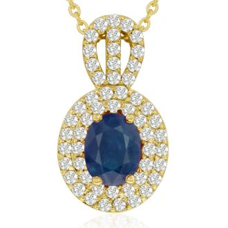 3.50 Carat Fine Quality Sapphire And Diamond Necklace In 14K Yellow Gold