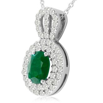 3.50 Carat Fine Quality Emerald And Diamond Necklace In 14K White Gold