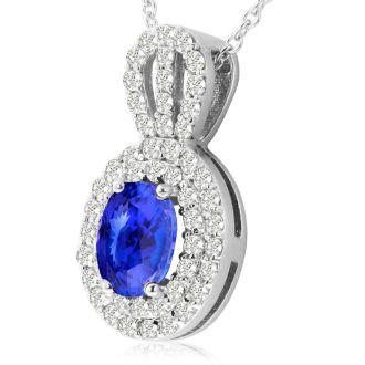 3.50 Carat Fine Quality Tanzanite And Diamond Necklace In 14K White Gold