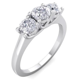 1 Carat Three Diamond Ring In Solid White Gold. Fiery Near Colorless Diamonds. Lowest Price Even On This Beautiful Ring!