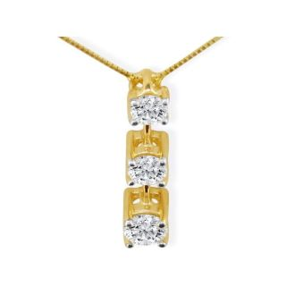 Our Most Popular Fine 3/4ct Three Diamond Pendant in 14K Yellow Gold