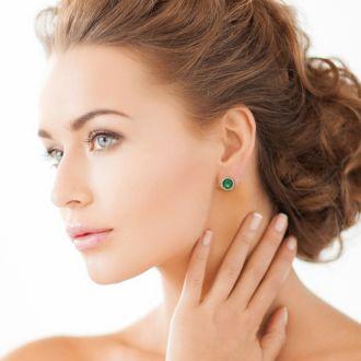 7 Carat Green Amethyst Halo Stud Earrings In Sterling Silver