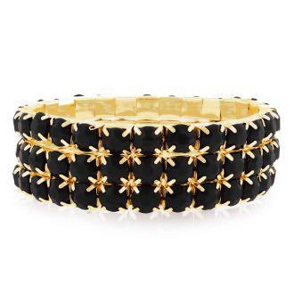 Set of Three Black Onyx Crystal Bracelets