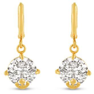 5 Carat Swarovski Elements Crystal Hoop Earrings In Yellow Gold Overlay