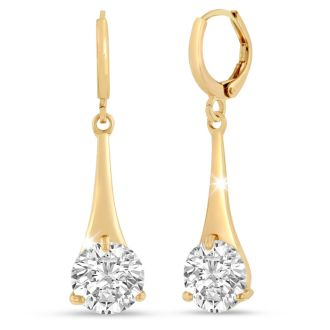 5 Carat Swarovski Elements Crystal Drop Earrings in Gold Overlay 1 1/4 Inches