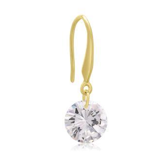 Floating Swarovski Elements Dangle Earrings In Yellow Gold, 1 Inch