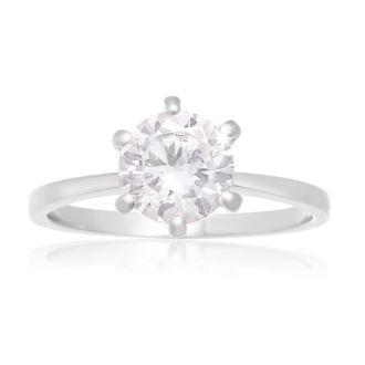 1 1/2 Carat 6 Prong Crystal Engagement Ring