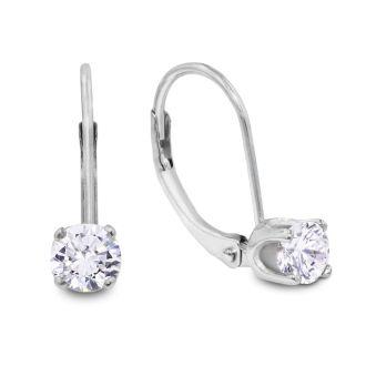 1/2 Carat Diamond Drop Earrings in 14k White Gold.  Very Popular, Shiny Natural Diamond Earrings