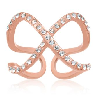 Pave Crystal X Ring In Rose Gold Overlay