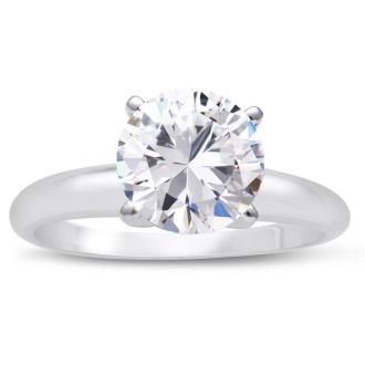 Platinum 2.00 Carat Round Cut Diamond Solitaire Engagement Ring, H-I Color, SI2 Clarity