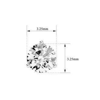 1/3 Carat Natural Genuine Diamond Stud Earrings In Martini Setting, 14 Karat White Gold
