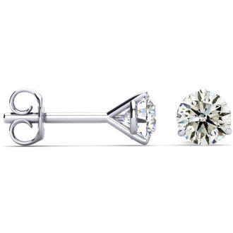 1 Carat Diamond Stud Earrings In Martini Setting, 14 Karat White Gold