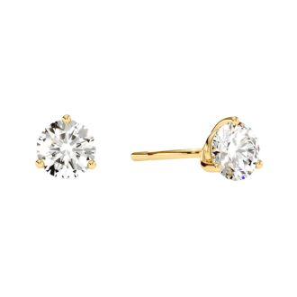 1 Carat Natural Genuine Diamond Stud Earrings In Martini Setting, 14 Karat Yellow Gold