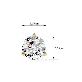 1 1/2 Carat Natural Genuine Diamond Stud Earrings In Martini Setting 14 Karat Yellow Gold