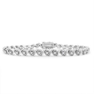 1/2 Carat Natural Diamond Bracelet, Platinum Overlay, 7  Inches Long.  Really A Beautiful Bracelet!