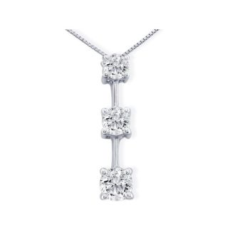 Impressive 1 1/2ct Fine Three Diamond Pendant in 14k White Gold