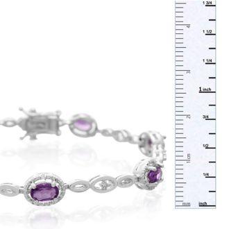 3 Carat Oval Shape Amethyst and Halo Diamond Bracelet, Platinum Overlay, 7 Inches
