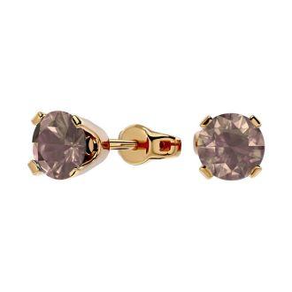 1 Carat Chocolate Bar Brown Champagne Diamond Stud Earrings in 14 Karat Yellow Gold
