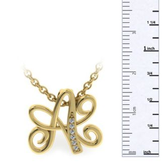 Diamond Initial Necklace, Letter A In Serif Style, Yellow Gold