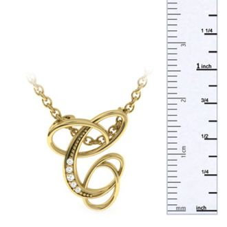 Diamond Initial Necklace, Letter C In Serif Style, Yellow Gold