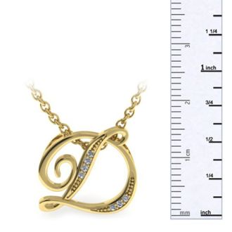 Diamond Initial Necklace, Letter D In Serif Style, Yellow Gold