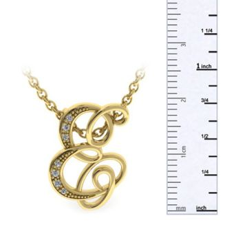 Diamond Initial Necklace, Letter E In Serif Style, Yellow Gold