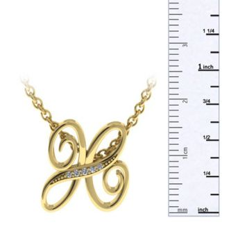 Diamond Initial Necklace, Letter H In Serif Style, Yellow Gold