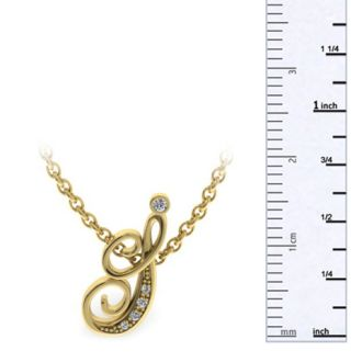 Letter I Diamond Initial Necklace In Yellow Gold With 6 Diamonds