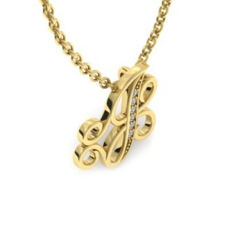 Diamond Initial Necklace, Letter J In Serif Style, Yellow Gold